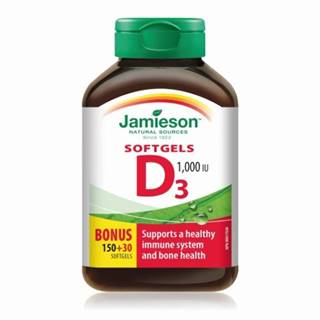 JAMIESON Vitamín D3 1000 IU 150 + 30 kapsúl ZADARMO