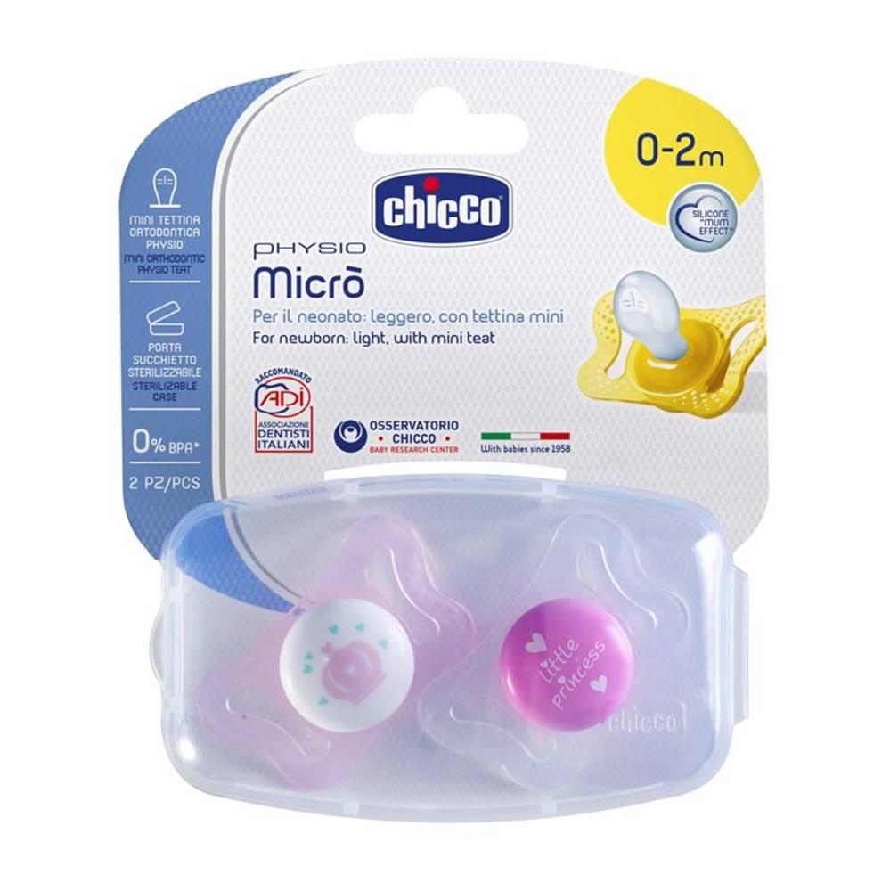 Chicco Chicco Cumlík Physio Micro, silikónový, 0-2m+, ružová, 2ks