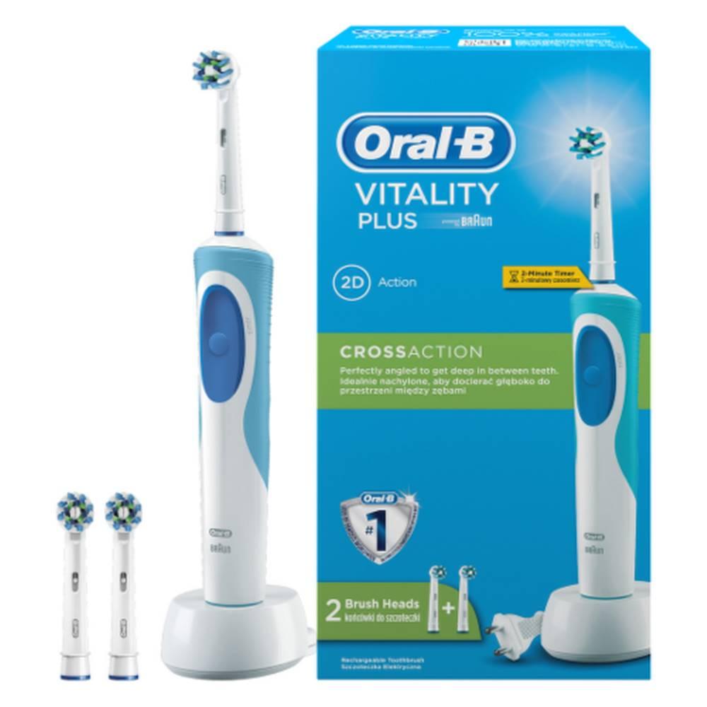 Oral-B ORAL-B Vitality plus cross action elektrická zubná kefka s 2 čistiacimi hlavicami 1 set